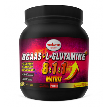 BCAAS   +  L  GLUTAMINE  MATRIX  300 Grs 8:1:1
